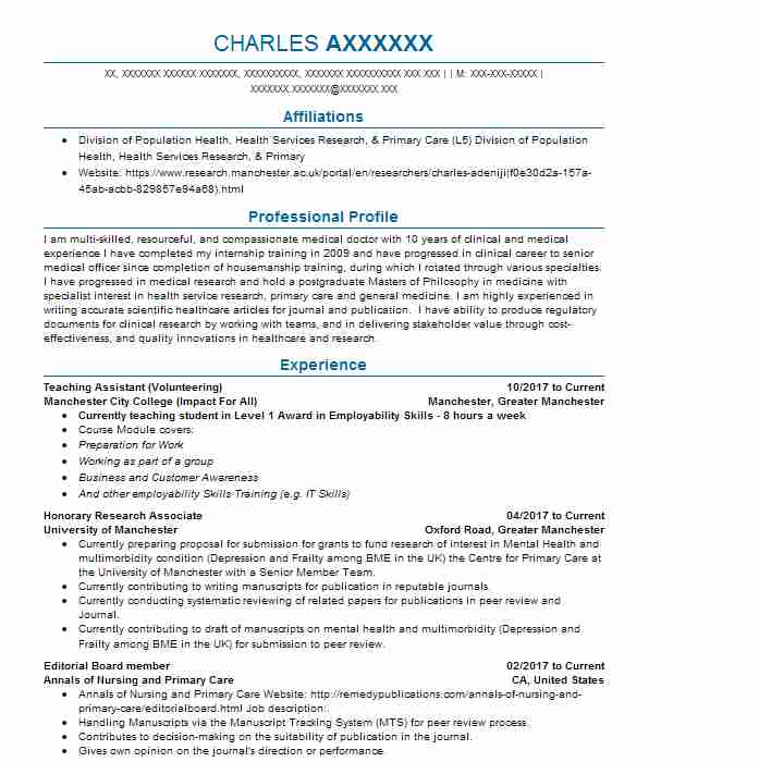 251 physicians and surgeons cv examples