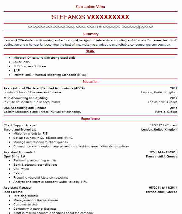6704 Accounting And Finance Cv Examples Templates Livecareer