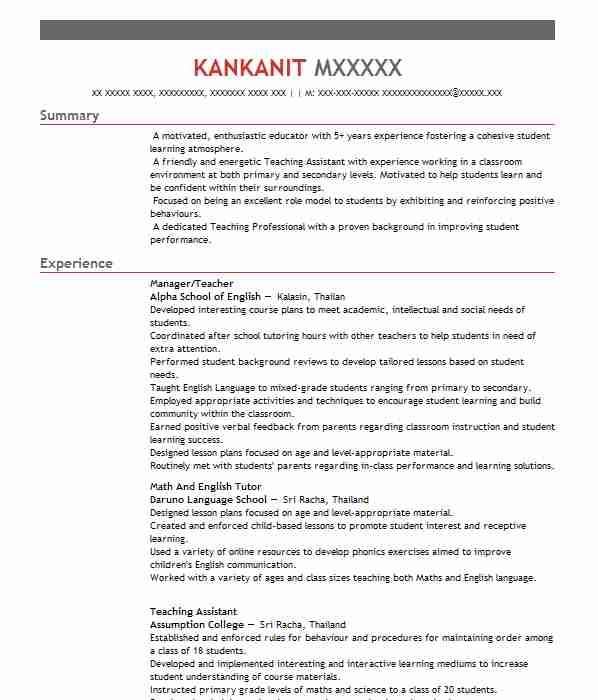 337 english as a second language cv examples