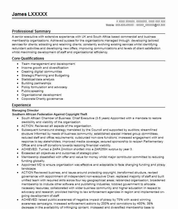88 Senior Executive CV Examples | Management CVs | LiveCareer
