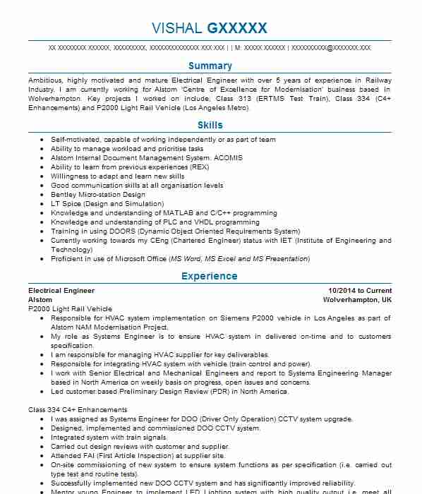 1499 electrical and electronic engineers cv examples