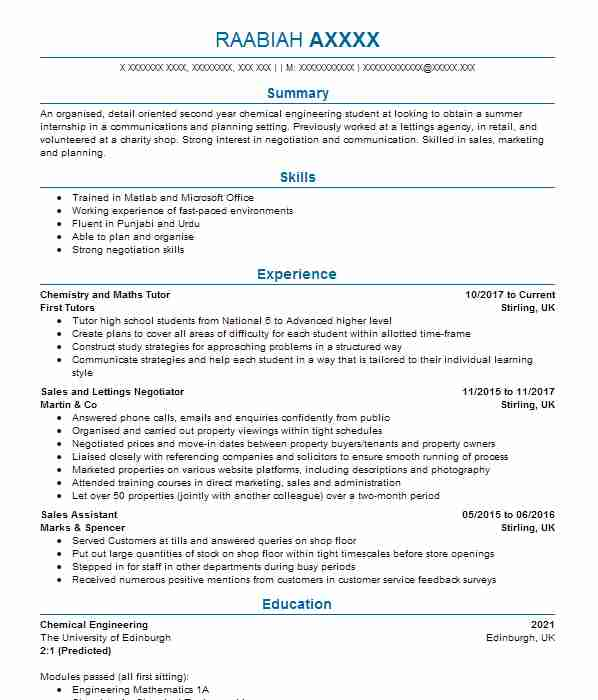208 chemical engineers cv examples