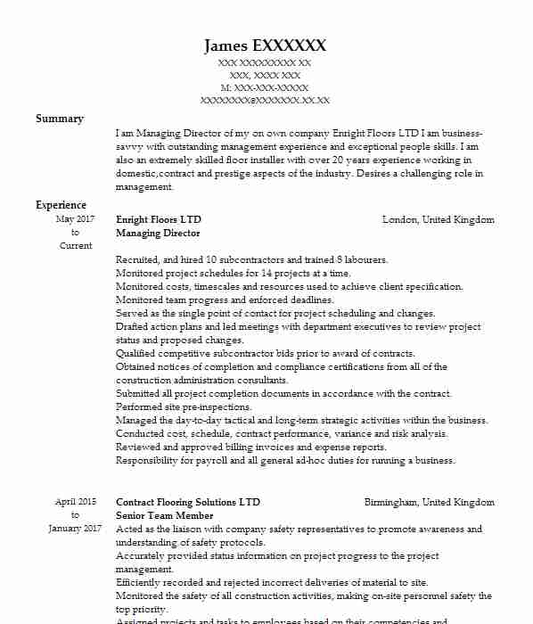 Self Employed Painter And Decorator Cv Example Self Employed