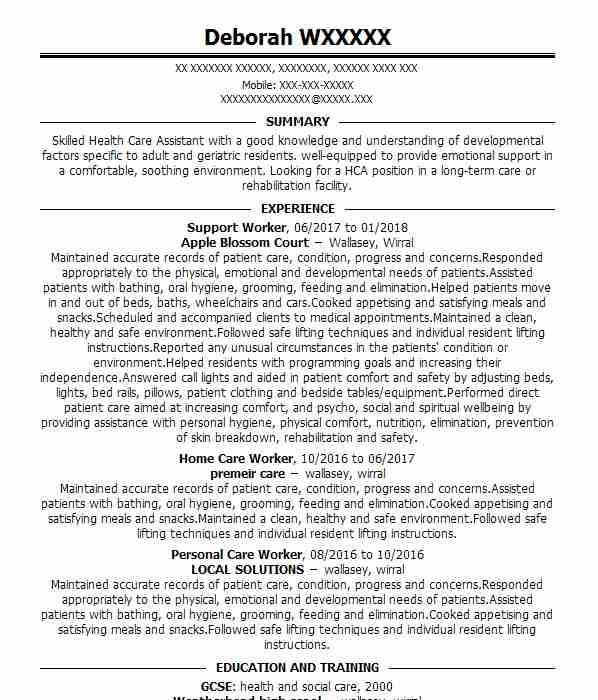 community mental health support worker cv example