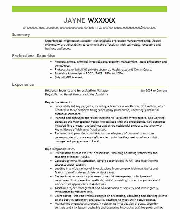 Subject Matter Expert And DNA Analyst CV Example (Signature Science ...