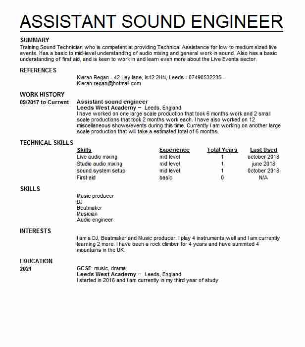 59 stage management cv examples