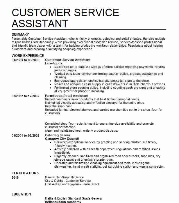 Customer Sales Assistant Cv Example Shell Petrol Staion