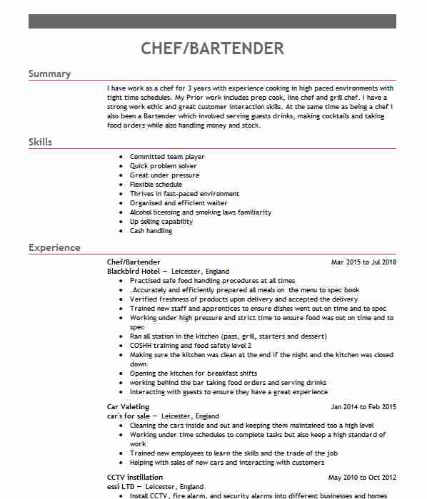 16701 food and beverage cv examples  u0026 templates