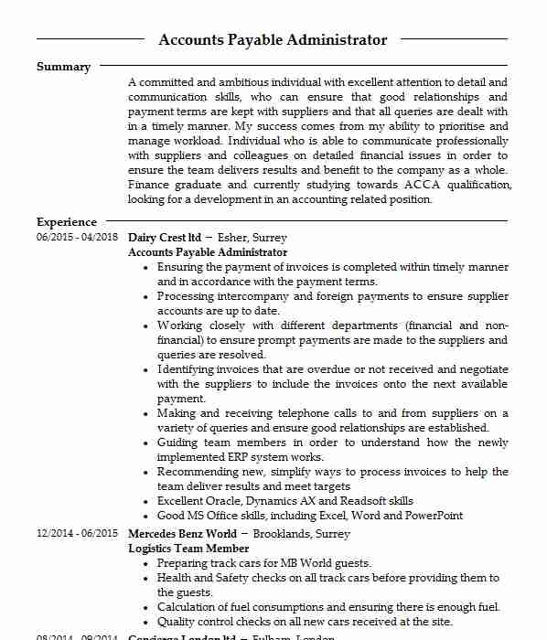 management accountant cv example  the office group ama