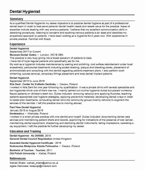 60 dental hygienists cv examples
