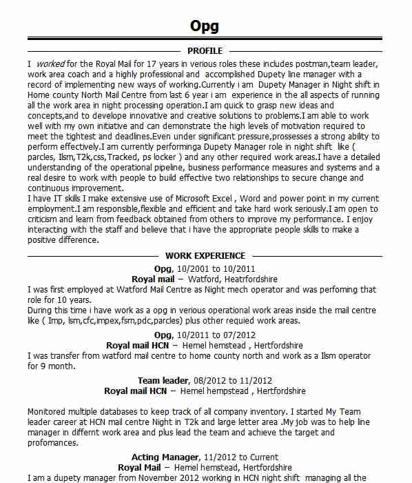 Post Resume Free: Postman CV Example (Royal Mail
