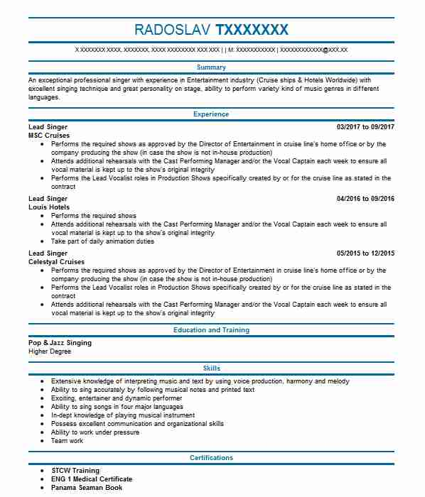 319 singers and musicians cv examples