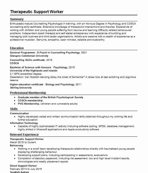 218 Counseling CV Examples