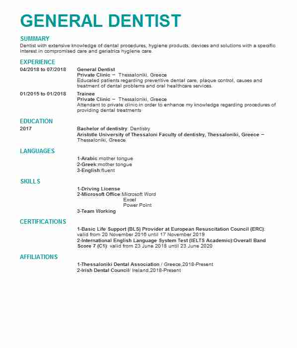 834 Dental Cv Examples Amp Templates Livecareer